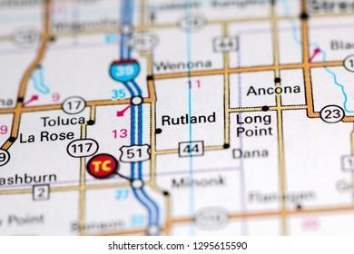 Rutland. Illinois. USA on a map
