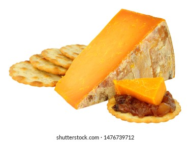 Rutland red cheese wedge isolated on a white background