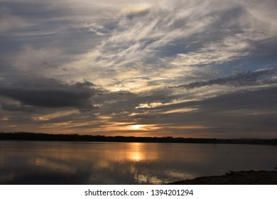 Rutland UK oct 17 2019 sunset viewed overlooking Rutland Water, one of the largest man made lakes in Western Europe