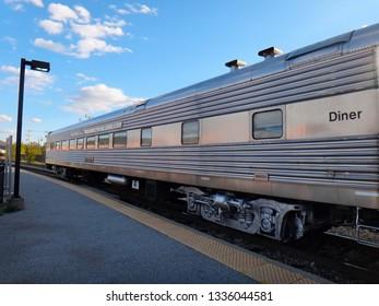 Rutland, VT - October 14 2014: Amtrak Ethan Allen Express at Rutland Station