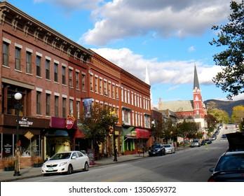 Rutland, VT - October 5 2014: Streetscape of Center Street in downtown Rutland