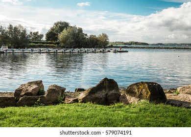 Rutland Water Park, England - October 22, 2016: Boats in the water reservoir in Rutland Water Park, England