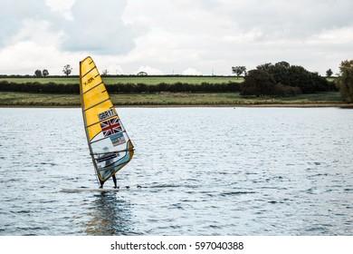 Rutland Water Park, England - October 22, 2016: Person is sailing on Rutland water, England, United Kingdom