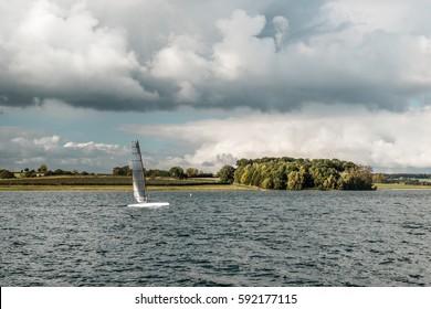 Rutland Water Park, England. Sailing on Rutland water, England, United Kingdom