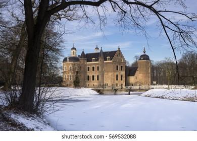 Ruurlo castle in the Dutch region Achterhoek seen from the surrounding wintry park