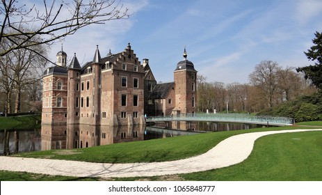 Ruurlo / Netherlands - April 10 2018: Museum MORE in a castle in a dutch village in the Achterhoek. This castle is kwown from the television series Zevensprong. The old building withe a modern bridge