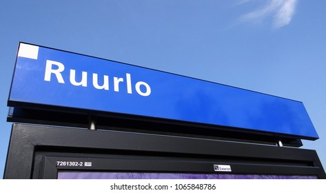 Ruurlo / Netherlands - April 10 2018: The station name sign / board of the dutch village Ruurlo in the Achterhoek