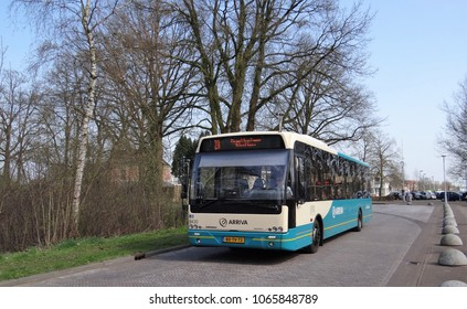 Ruurlo / Netherlands - April 10 2018: A VDL Ambassador bus  of Arriva in the dutch village Ruurlo as line 23 with as destination Doetinchem. Arriva is a public transport company.