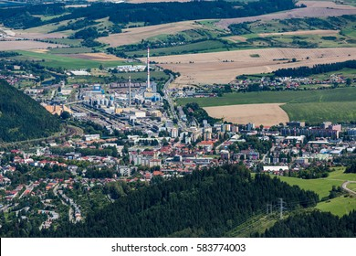 Ruzomberok city from Tlsta Hora Mountain in the Cutkovska Dolina Valley in the Liptov region in Slovakia