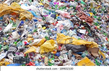 RUZOMBEROK, SLOVAKIA - APRIL 25: Plastic waste in landfill at centre of town on April 25, 2014 in Ruzomberok