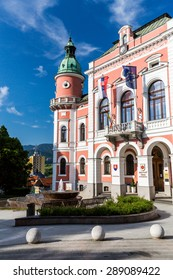 RUZOMBEROK, SLOVAKIA - June 3: View to the town hall of the city of Ruzomberok on June 3, 2015. Ruzomberok is a town in northern Slovakia, in the historical Liptov region.