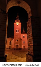 RUZOMBEROK, SLOVAKIA - NOVEMBER  26, 2020: Church of  St. Ondrej has been lit in red due event Red Wednesday to honour Christians and others persecuted for their religious beliefs.