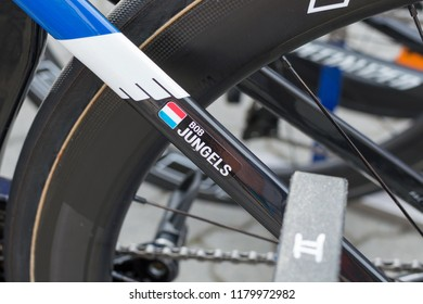RUZOMBEROK, SLOVAKIA - SEPTEMBER 14, 2018: Bob Jungels bicycle detail before third stage of road cycling championship - Tour of Slovakia