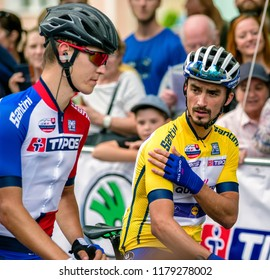 RUZOMBEROK, SLOVAKIA - SEPTEMBER 14: Cyclists Bob Jungels and Julian Alaphilippe at start of second stage of Tour de Slovakia on  September 14, 2018 in Ruzomberok