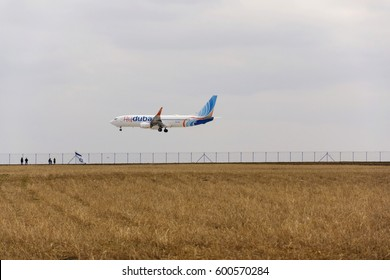 RUZYNE, CZECH REPUBLIC - MARCH 12: Flydubai airplane landing on Vaclav Havel airport on March 12, 2017 in Ruzyne, Czech republic. Flydubai will add three new destinations for upcoming summer season.