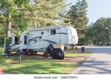 RV campground with plenty of trees for both tent camping and RV sites in Texas, America