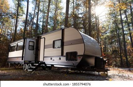 RV camping in late fall at JordanLake NC