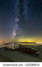 RV camping Under The Milky Way At The Salton Sea