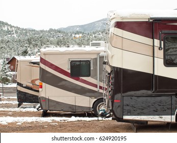 RV campsite in snow at Estes park, Colorado.