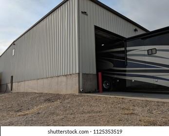 Rv motorhome in diesel repair shop