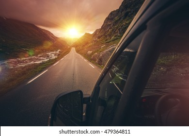RV Motorhome Traveling. Scenic Mountain Route with Sunset. Summer Camper Trip.