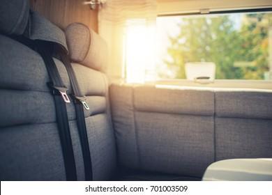 RV Traveling Comfort. Camper Van Motorcoach Passengers Seats.