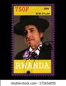 RWANDA, AFRICA - CIRCA 2009: A postage stamp from Rwanda of music legend Bob Dylan, circa 2009.