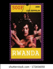 RWANDA, AFRICA - CIRCA 2009: A postage stamp from Rwanda of legendary band 'Led Zeppelin', circa 2009.