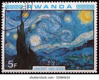 RWANDA - CIRCA 1984: A stamp printed in Rwanda shows draw by artist  Vincent Van Gogh - Starry Night, circa 1984