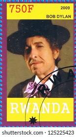 RWANDA - CIRCA 2009: A postage stamp printed in the Republic of Rwanda showing Bob Dylan, circa 2009