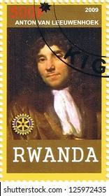 RWANDA - CIRCA 2009: A postage stamp printed in the Republic of Rwanda showing Antonie van Leeuwenhoek, circa 2009