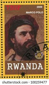 RWANDA - CIRCA 2009: A stamp printed by Rwanda, shows Marco Polo, circa 2009