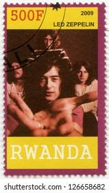 RWANDA - CIRCA 2009: A stamp printed in Republic of Rwanda shows Led Zeppelin, circa 2009