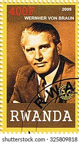 RWANDA - CIRCA 2009: A stamp printed in Rwanda shows Wernher Von Braun, series, circa 2009