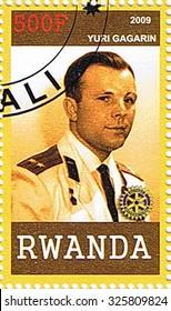 RWANDA - CIRCA 2009: A stamp printed in Rwanda shows Yuri Gagarin, series, circa 2009