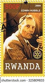 RWANDA - CIRCA 2009: A stamp printed in Rwanda shows Edwin Hubble, series, circa 2009