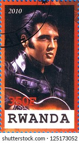 RWANDA - CIRCA 2010: A postage stamp printed in the Republic of Rwanda showing Elvis Aaron Presley, circa 2010