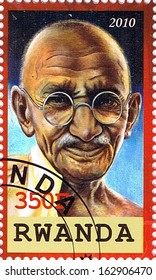 RWANDA - CIRCA 2010: A stamp printed in Rwanda shows Mahatma Gandhi, series, circa 2010