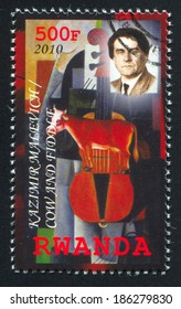 RWANDA - CIRCA 2010: stamp printed by Rwanda, shows Cow and Fiddle by Kazimir Malevich, circa 2010