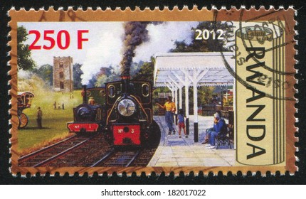 RWANDA - CIRCA 2012: stamp printed by Rwanda, shows Train, circa 2012