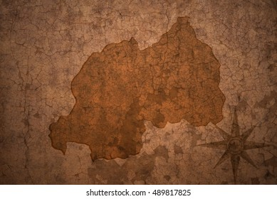 rwanda map on a old vintage crack paper background