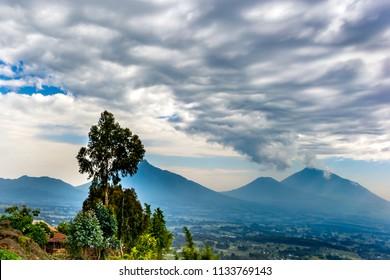 Rwanda, Volcanoes National park, majestic landscape, mountains,  dramatic clouds.