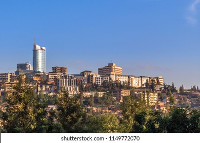 Rwandan capital downtown ladscape with living houses and business buildings, Kigali, Rwanda