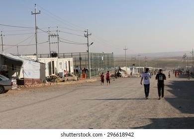RWANGA REFUGEE CAMP, ZAKHO, KURDISTAN, IRAQ - 2015 JULY 13 - Main street in Rwanga (rwanga refugee) camp depict the drama occurring in the region
