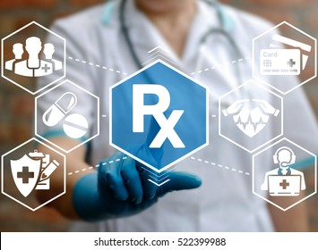 RX health care concept icon. Medicine, healthcare concept - doctor presses rx button. Drug treatment health insurance medical network icon.