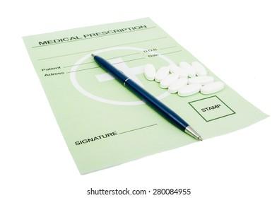 Rx paper with pills. Medical prescription concept