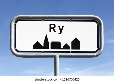 Ry city road sign in Denmark