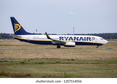 Ryanair Boeing 737-800 taxiing in Eindhoven Airport in the Netherlands. Ryanair is a low cost carrier. Einhoven, Netherlands - August 26, 2018