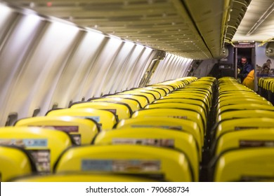 Ryanair. Inside Ryanair airplane during a flight from Thessaloniki airport. Ryanair is an Irish Low Cost Carrier. Thessaloniki, Greece - 12 December 2017