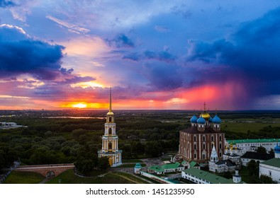 Ryazan attraction-the Kremlin in the summer at sunset